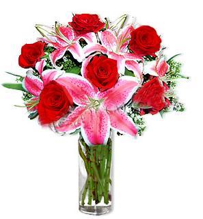 Adana çiçek yolla çiçek yolla  1 dal cazablanca ve 6 kırmızı gül çiçeği