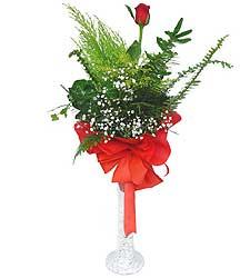 Adana çiçek siparişi anneler günü çiçek yolla  Cam vazoda masum tek gül