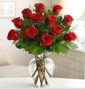 Vazo içerisinde 12 kırmızı gül  Adana çiçek yolla çiçek satışı