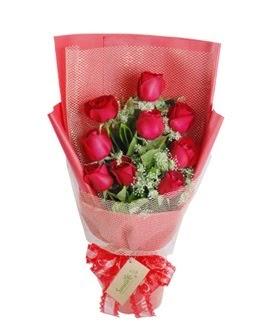 9 adet kırmızı gülden görsel buket  Adana çiçek gönder ucuz çiçek gönder