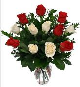 Vazo içerisinde 6 kırmızı 6 beyaz gül  Adana çiçek gönder hediye çiçek yolla