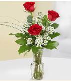 Vazo içerisinde 3 adet kırmızı gül  Adana çiçek yolla çiçek satışı