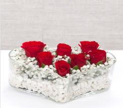 kalp içerisinde 7 adet kırmızı gül  Adana çiçek siparişi çiçek siparişi vermek