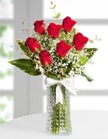 Cam vazoda 7 adet kırmızı gül  Adana çiçek gönder çiçek , çiçekçi , çiçekçilik