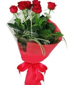 5 adet kırmızı gülden buket  Adana çiçek siparişi kaliteli taze ve ucuz çiçekler