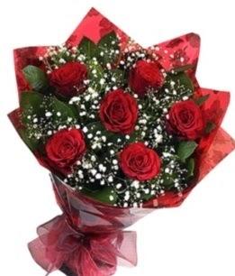 6 adet kırmızı gülden buket  Adana çiçek siparişi yurtiçi ve yurtdışı çiçek siparişi