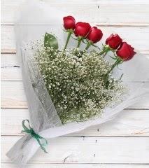 5 kırmızı gülden sade buket  Adana çiçek yolla çiçek yolla