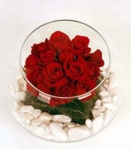 Cam fanusta 11 adet kırmızı gül  Adana çiçek yolla çiçek gönderme