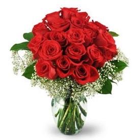 25 adet kırmızı gül cam vazoda  Adana çiçek gönder çiçek , çiçekçi , çiçekçilik