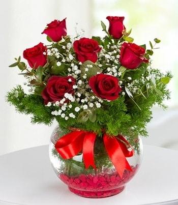 fanus Vazoda 7 Gül  Adana çiçek gönder çiçek , çiçekçi , çiçekçilik