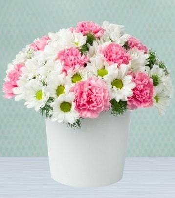 Seramik vazoda papatya ve kır çiçekleri  Adana çiçek gönder çiçek siparişi sitesi