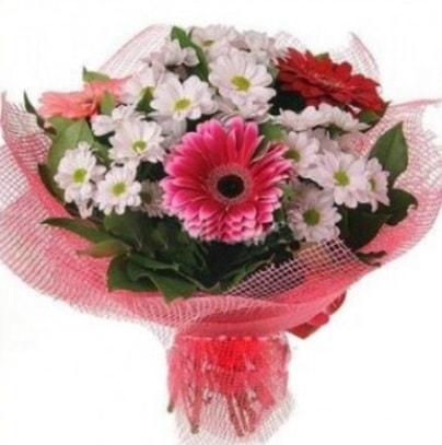 Gerbera ve kır çiçekleri buketi  Adana çiçek siparişi internetten çiçek siparişi