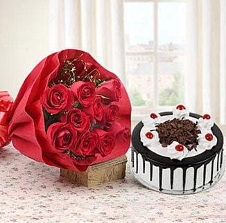 12 adet kırmızı gül 4 kişilik yaş pasta  Adana çiçek gönder çiçek , çiçekçi , çiçekçilik