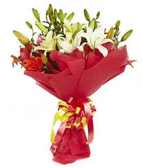 5 dal kazanlanka lilyum buketi  Adana çiçek yolla çiçek gönderme sitemiz güvenlidir