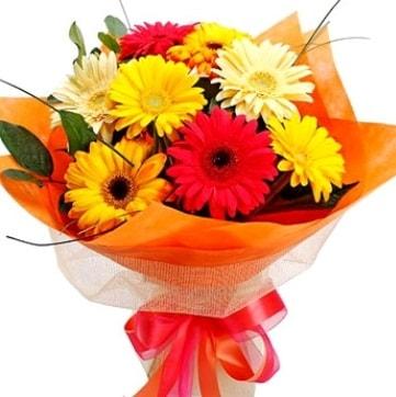 9 adet karışık gerbera buketi  Adana çiçek gönder çiçek , çiçekçi , çiçekçilik