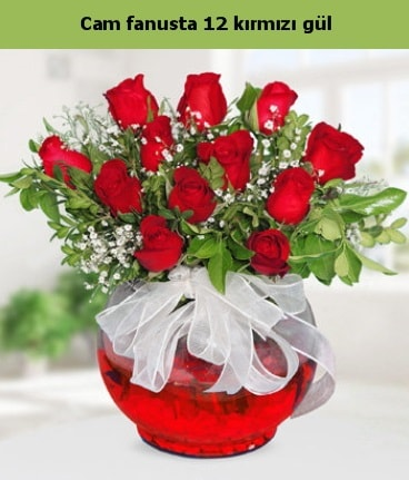 Cam içerisinde 12 adet kırmızı gül  Adana çiçek gönder internetten çiçek satışı