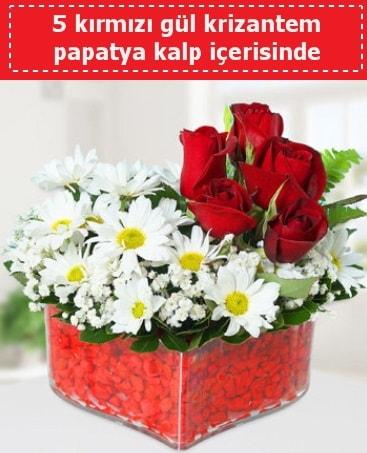 mika kalp içerisinde 5 kırmızı gül papatya  Adana çiçek yolla çiçek gönderme