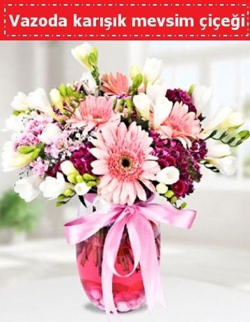 Vazoda karışık mevsim çiçeği  Adana çiçek gönder çiçek , çiçekçi , çiçekçilik