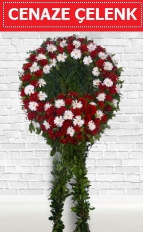 Kırmızı Beyaz Çelenk Cenaze çiçeği  Adana çiçek yolla İnternetten çiçek siparişi