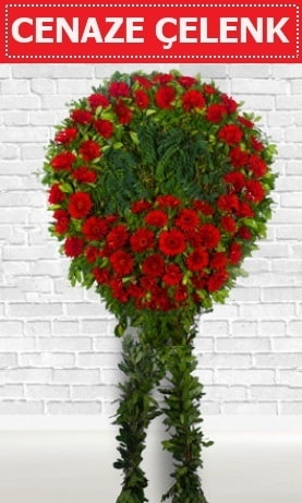 Kırmızı Çelenk Cenaze çiçeği  Adana çiçek yolla İnternetten çiçek siparişi