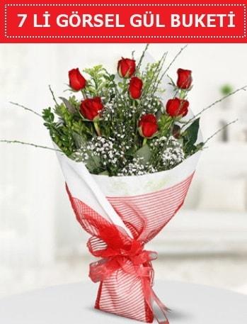 7 adet kırmızı gül buketi Aşk budur  Adana çiçek yolla çiçek satışı