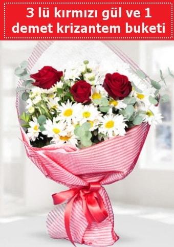 3 adet kırmızı gül ve krizantem buketi  Adana çiçek yolla çiçek gönderme sitemiz güvenlidir