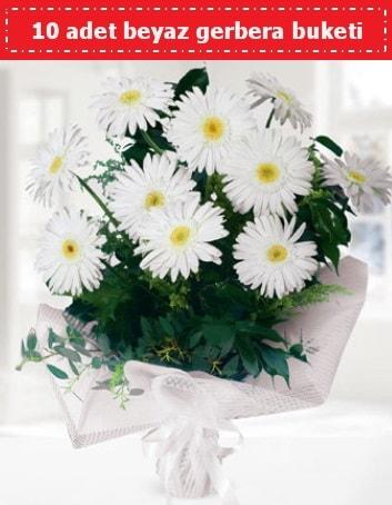 10 Adet beyaz gerbera buketi  Adana çiçek gönder çiçek , çiçekçi , çiçekçilik