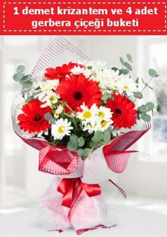 Krizantem ve Gerbera Buketi  Adana çiçek gönder çiçek siparişi sitesi