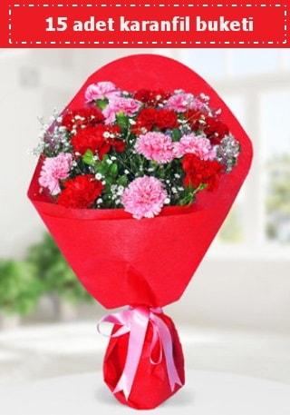 15 adet karanfilden hazırlanmış buket  Adana çiçek siparişi cicekciler , cicek siparisi
