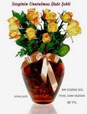 Adana çiçek gönder internetten çiçek satışı  mika yada Cam vazoda 12 adet sari gül